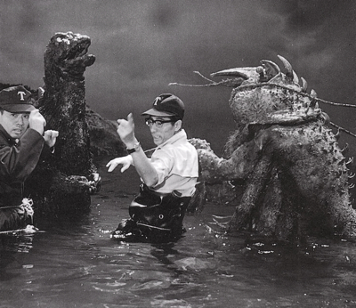 Special effects director Sadamasa Arikawa (center) sets up a fight between Godzilla and the Sea Monster (a.k.a., Ebirah).