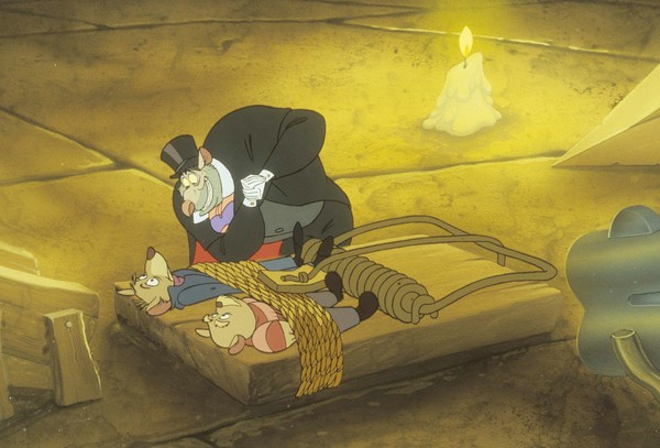 Ratigan enjoys his moment of triumph over Basil of Baker Street and Dr. Dawson