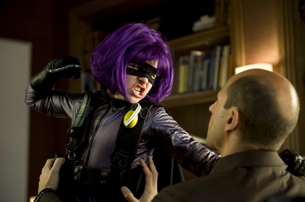 Hit Girl (Chloe Moretz) takes on mob boss Frank DAmico (Mark Strong).