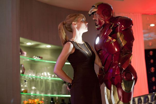 Pepper Potts (Gwyneth Paltrow) is unable to prevent Tony Stark (Robert Downey Jr) from making a drunken fool of himself at a party