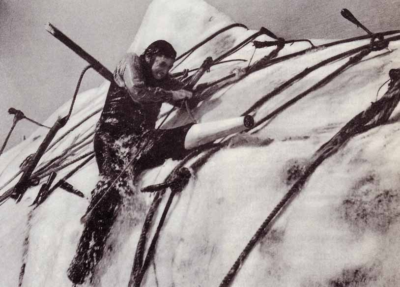 Captain Ahab (Gregory Peck) grapples with his mortal enemy.