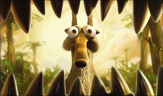 Scrat gets a wiff of dino-breath.