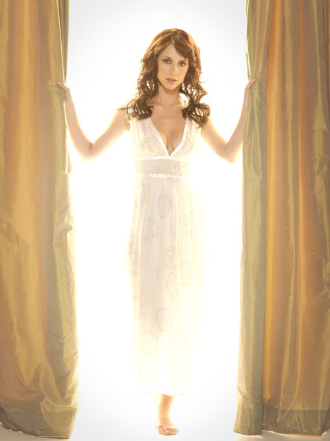 Jennifer Love Hewitt models one of her many low-cut gowns.