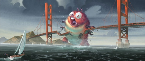 Insectasaurs smashes the Golden Gate Bridge while atempting to confront alien invaders.