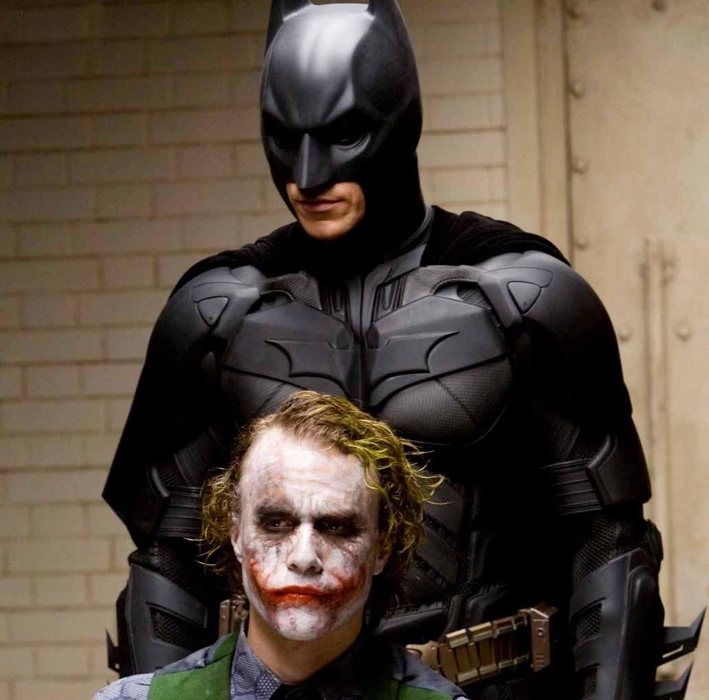 Batman (Christian Bale) and the Joker (Heath Ledger) in THE DARK KNIGHT
