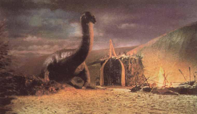 Jim Danforth's stop-motion plesiosaur lumbers into a prehistoric village.