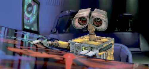 Wall-E frantically pushes buttons in an escape pod.