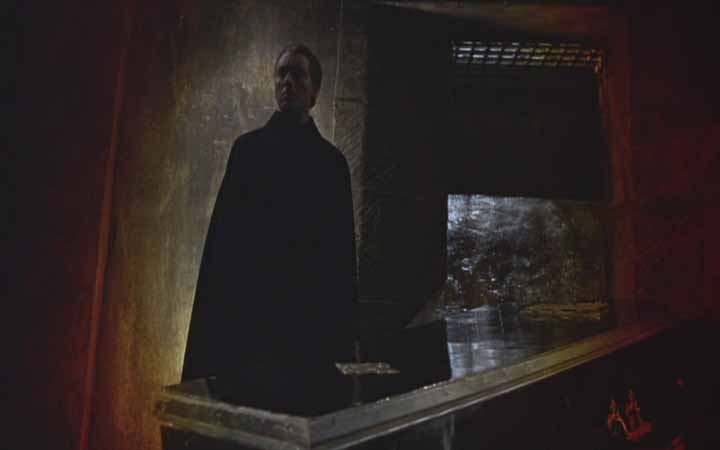 In a masterfully composed and lit shot, Dracula waits and broods in his subterranean lair.