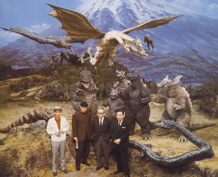 A behind-the-scenes publicity shot on the Mt Fuji set.