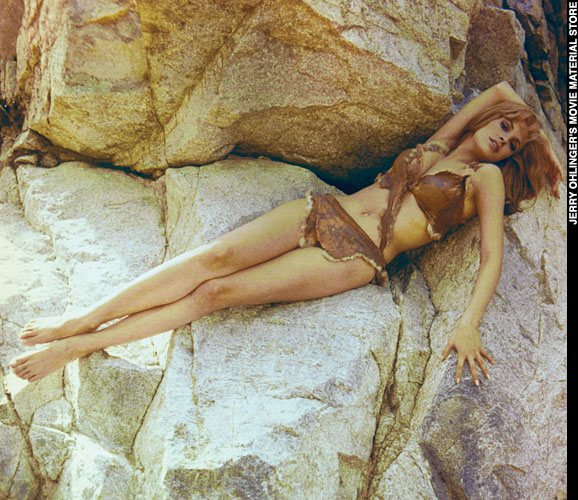 Raquel Welch in a posed publicity shot from ONE MILLION YEARS, B.C.
