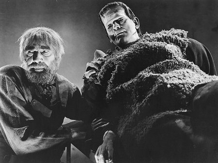 Bela Lugosi as Ygor with Boris Karloff as the Frankenstein Monster.