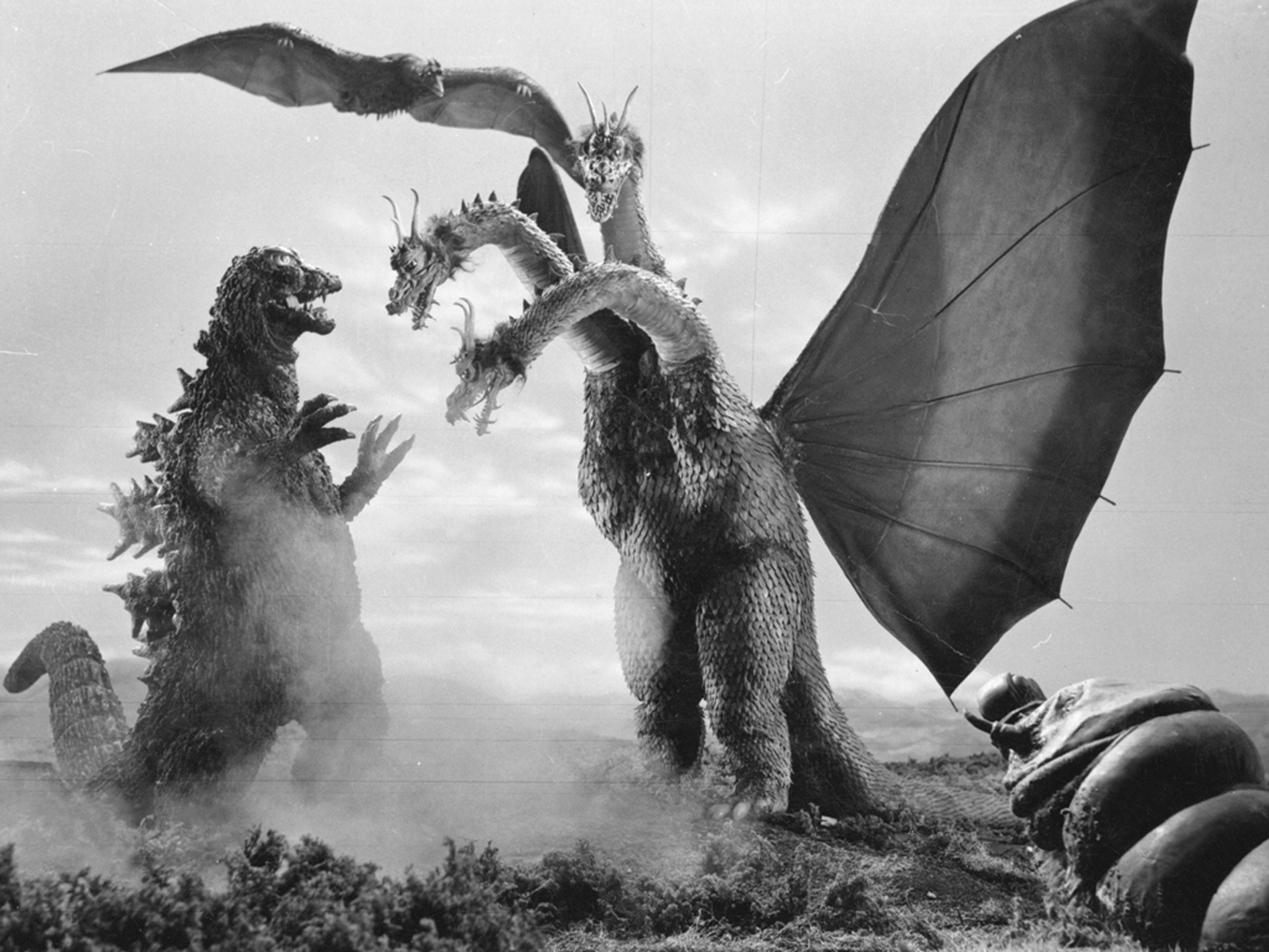 Godzilla, Rodan, and Mothra defeat King Ghidorah.