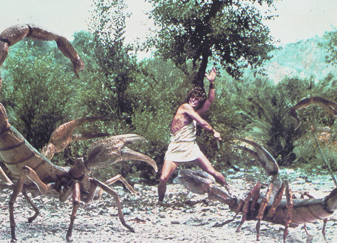 Perseus (Harry Hamlin) battles giant scorpions.
