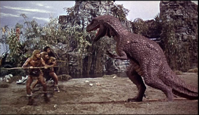 Cavemen battle an allosaurus in ONE MILLION YEARS, B.C.