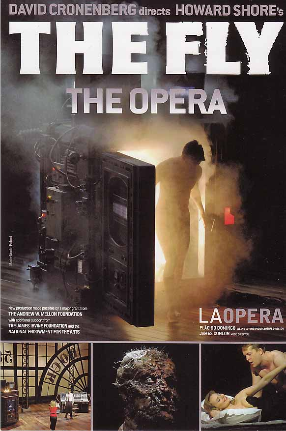 Advertising art for Howard Shore's opera, based on the 1986 film.