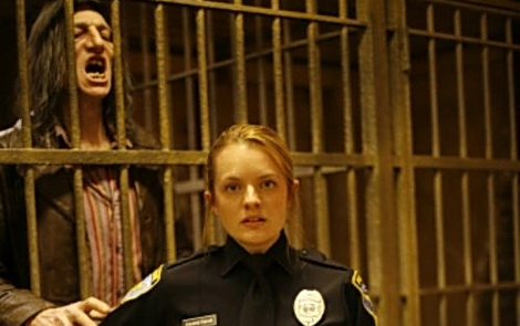 Elizabeth Moss plays a cop in a jail housing a serial killer, in Stuart Gordon's episode of the NBC series FEAR ITSELF