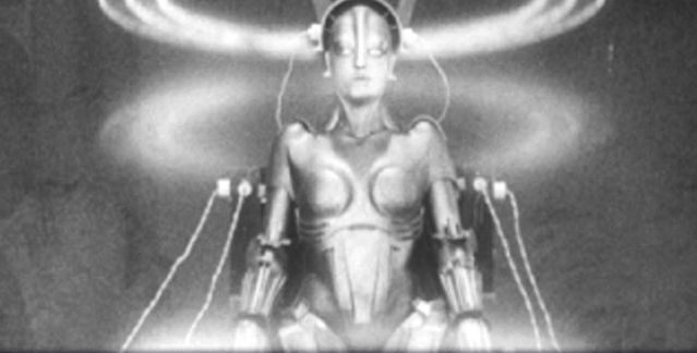 The robot, galvanized by Rotwangs scientific machinery.