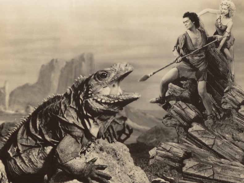 Victor Mature and Carol Landis fend off an iguana posing as a dinosaur in this prehistoric epic.